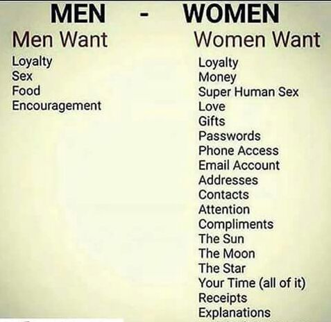 what men want vs what women want humor jokes memes trolls